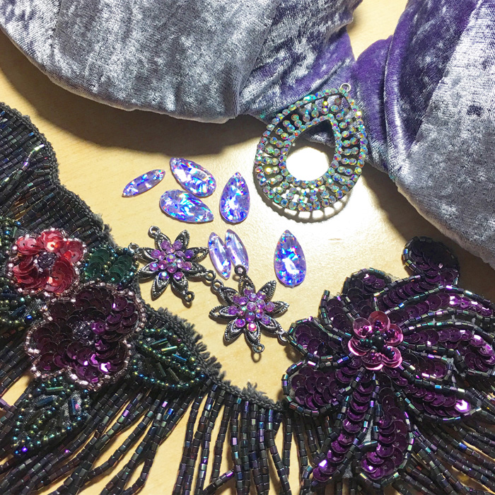Image of materials and supplies used in the creation of the Lavender Garden costume ensemble | Dawn Devine of Studio Davina - www.davina.us
